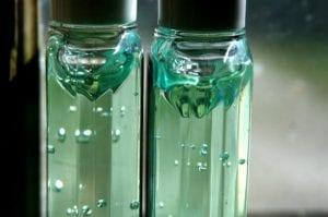 Hand sanitizer bottles close up