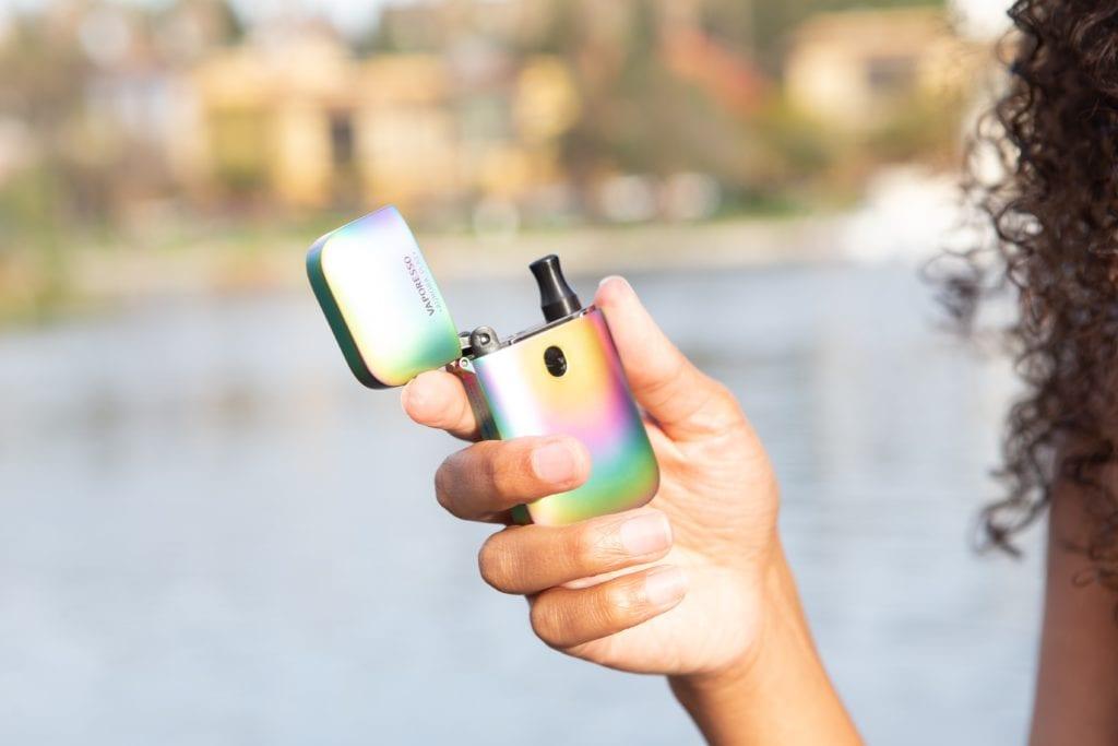 Girl holding vaporizer